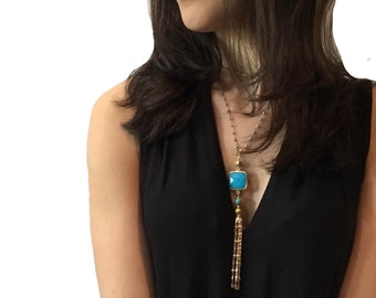 Layered turquoise necklace - Long layered necklace - Long turquoise necklace - Layered necklace gold - Turquoise necklace gold - wife gift