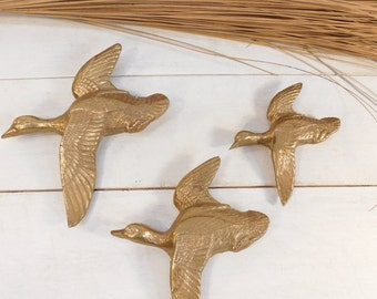 Vintage Three Brass Cast Birds In Flight Wall Decor, Farmhouse Chic