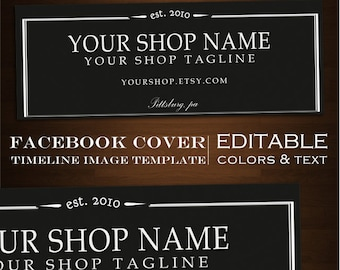Facebook Timeline Cover Image - Customizable Premade Black Foundry Design- DIY Online Editor Masculine Clean fdr
