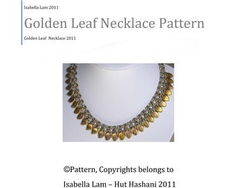 Golden Leaf Exclusively PDF  Necklace Beading tutorial for personal use only