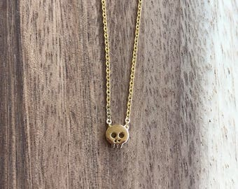 Gold Skull Necklace, Gold Layering Necklace, Delicate Gold Necklace, Delicate Gold Skull Necklace, Skull Necklace, Tiny Skull Necklace