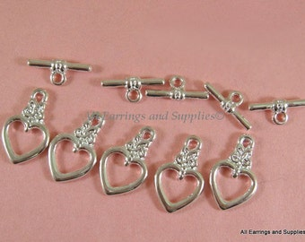 5 Heart Toggle Clasp Silver LF and NF 20x13mm Alloy - 5 sets - F4010TC-S5