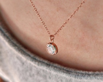 CZ necklace.  rose gold filled necklace. Cubic zirconia necklace. Minimalist 14k rose gold filled necklace. Pendant cubic zirconia. pease