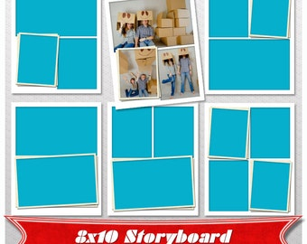 Storyboard, Set of 5 Collage Template PSD 8x10 Photo Collage Template,  Digital Storyboard, storyboard template for photographers