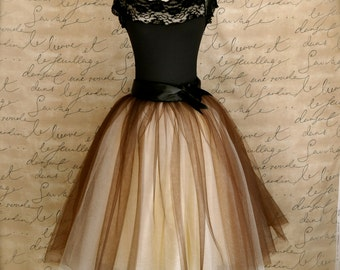 Brown and cream womens tulle skirt. One of our most popular tulle skirts with wide black or brown satin ribbon waist.