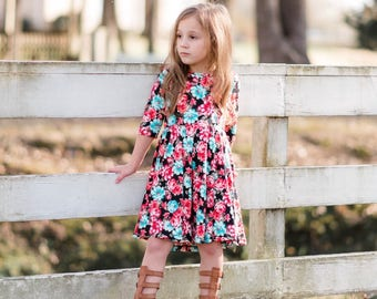 Girl Coral and Teal Floral Dress, Girls Floral Dress, Twirly Dress, Girls Twirly Dress  Sizes 2/3, 4/5, 6/6X, 7/8, 10/12 Ready to Ship