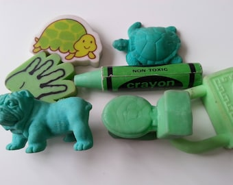 Vintage, GREEN, 7,  bag, turtle, tortoise, hand, bulldog, crayon, toilet, 1980s, eraser, rubbers, gommi,  scented, by NewellsJewels on etsy