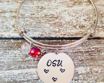 Your favorite state college team bangle~ School spirit~ Hand stamped bracelet~College state or pro bracelets available