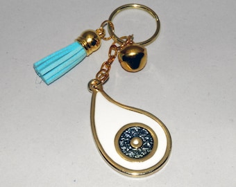 White Eye Teardrop Metal Keychain Charm Gift Wrap. Evil Eye Keyring Charms. Greek charms
