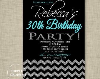 30th Birthday Invitation Black Silver Glitter Surprise Party Invite Chevron Aqua Blue Black Printable Adult Party Invite JPEG file (64)