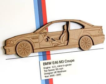 BMW E46 M3 Coupe, BMW M3 Blueprint, Laser Cut Wood, BMW Decor, Blueprints, Automotive Art, bmw E46 M3, Bmw Gifts, Blueprint Art, 8x10 or A4