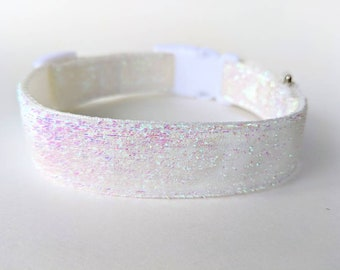 White Iridescent Sparkle Dog Collar / Icicle Dog Collar / Wedding Sparkle Dog Collar