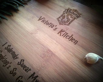 Customized Harry Potter Cutting Board, Marauder's Map, Up to No Good, BungalowBoo, Family, Choose Your House