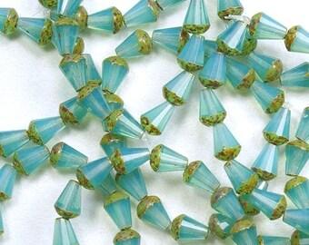 Aqua Blue Opaline Picasso Top Cut Faceted Teardrop Vertical Hole Czech Glass Beads 8x6mm - 15