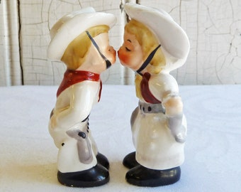 Mid-Century Napco Kissing Cowboy and Cowgirl Salt & Pepper - Hard to Find Vintage Western Set - 1950s, Dated 1956 - Wedding Cake Topper