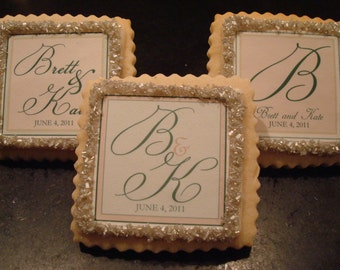 Wedding Favors Custom Shortbread Cookies-- 1 dozen