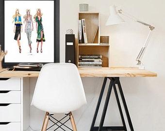 INSTANT DIGITAL DOWNLOAD, Runway Girls Fashion Illustration Watercolor Print, High Fashion Decor Luxury Wall Art, Digital Art