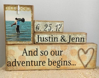 Wedding gift, bridal shower gift, and so the adventure begins, unique gift for couple, housewarming gift, beach/nautical wedding, wife gift