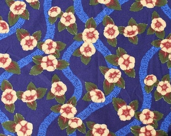 Navy Blue Cotton Hawaiian Print (Yardage Available)