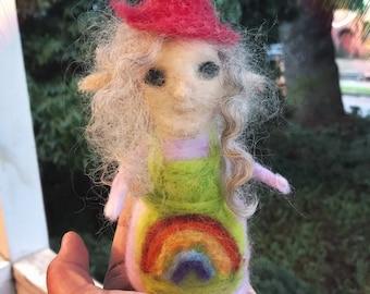 Needle felted wool elven faerie godmother rainbow