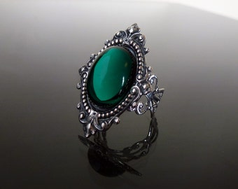 Victorian gothic ring - Emerald green ornate filigree silver steampunk ring - adjustable SINISTRA ring