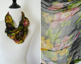 Vintage 1980's Black Floral Neck Scarf - neck tie fashion scarf- semi sheer floral ladies scarf - Business Casual Chiffon Fashion Scarf -