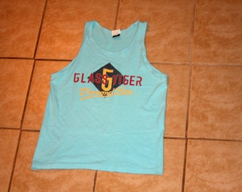 Glass Tiger Diamond Sun Medium Teal Tank Top Vintage 1988