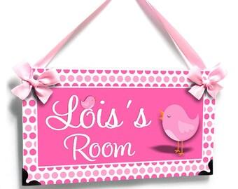 pink baby birds nursery door sign - Girls Bedroom Wall Art - spring birdie - P104