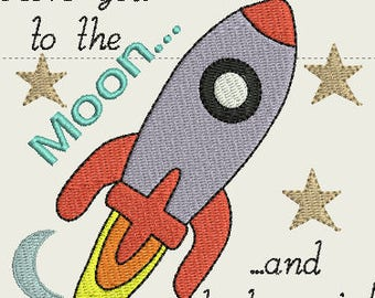 To the moon and back embroidery design 4 x 4