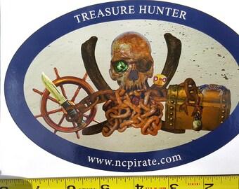 Treasure Hunter Bumper Sticker Blue Outline
