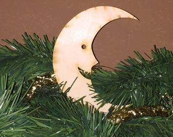 Unfinished, Ornament Sized Crescent Moon