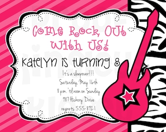 Rockstar Invitation Rockstar Party Rockstar Birthday Invitation Rocksstar Party Invite Girls Rock Guitar Superstar Invitation