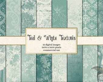 Teal and White Digital Paper, teal textures, distressed texture, grungy backgrounds, vintage aqua and ivory scrapbook paper instant download