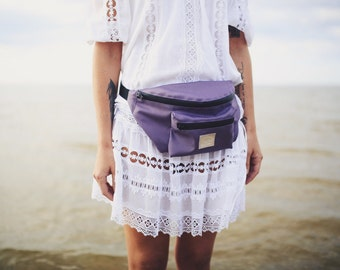 Water resistant purple fanny pack