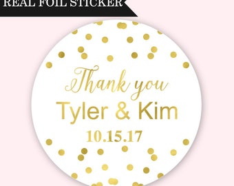 Wedding Favor Stickers - Confetti Personalized Foil Stickers - Wedding Stickers - Wedding Favor Stickers - Gold Wedding Stickers