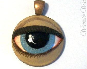 Here's Lookin' at You Pendant - Handmade Inlaid OOAK Sculpture Copper Necklace