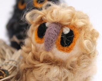 Baby Owl Cute and Fluffy Blonde Needle Felted Owl Baby, Felt Bird