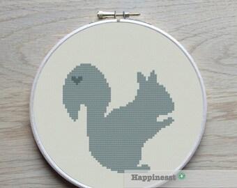 cross stitch pattern squirrel, squirrel silhouette, modern cross stitch, PDF,  ** instant download**