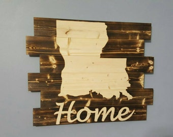 State of Louisiana Silhouette Wooden Wall Art