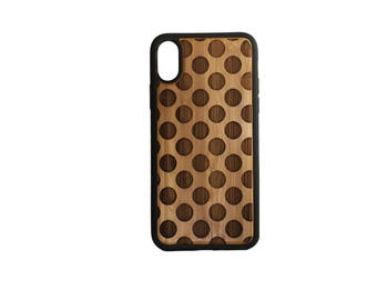 Polka Dot iPhone Case Cover for iPhone X by iMakeTheCase Bamboo + TPU Wrapped Edges Dots Pattern Circle Geometric Woodland Hipster Fashion