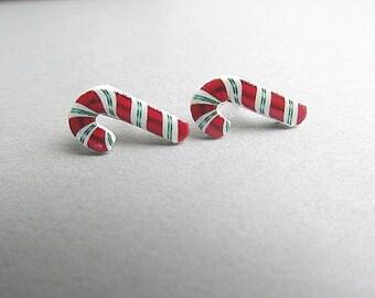 Sweet Candy Cane Stud Earrings