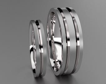 Silver His & Hers Brushed 6mm and 3mm Wedding Band Set, 925 Sterling Silver Mens and Ladies Matching Simple Unique Channels and Comfort Fit