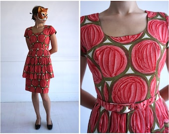 Statement Vintage 50's Pink and Green Patterned Barkcloth Peplum Dress by Racell | Small