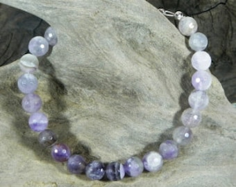 """Purple faceted amethyst bracelet 9"""" long heart clasp semiprecious stone jewelry February birthstone packaged in a colorful gift bag 10211"""
