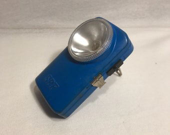 Old SPF-powered blue Metal flashlight functional Vintage