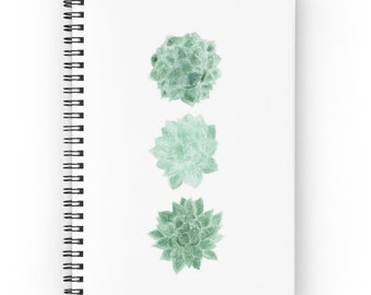 Succulent Notebook, spiral notebook, cactus journal, white notebook, succulent journal, cactus notebook, modern notebook, minimal journal