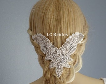 Ivory Bridal Lace Hair Piece, Bridal Lace Hair Piece, Bridal Headpiece, Bridal Hair Comb, Bridal Lace Hair Comb, Ivory, Pearl, Crystal