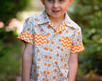 The WILLOW SHIRT sewing pattern for boys & girls, kids shirt pattern sizes 4 to 14 years by Felicity Patterns