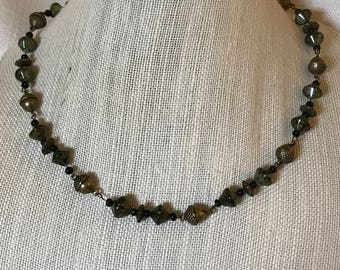 Acorn and Green Agate Necklace