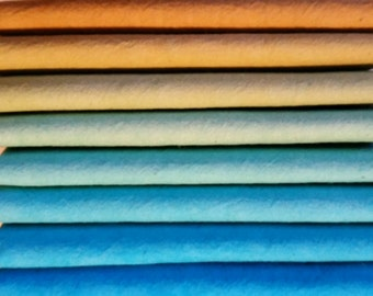 "Hand dyed cotton fat quarters for quilting, gradation of turquoise to amber, ""Lake Tahoe"" collection"